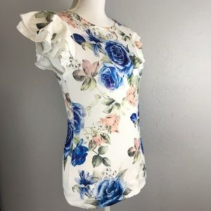 Gaze USA Floral Ruffle Sleeve Soft & Stretchy Top